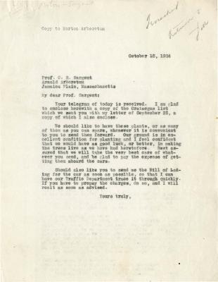 1924/10/15: Joy Morton to C. S. Sargent