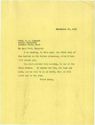1924/09/20: Joy Morton to C. S. Sargent