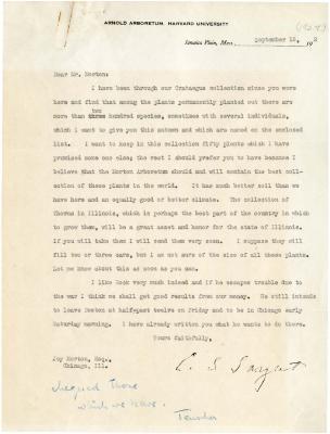 1924/09/18: C. S. Sargent to Joy Morton