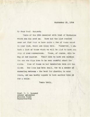 1924/09/23: Joy Morton to C. S. Sargent