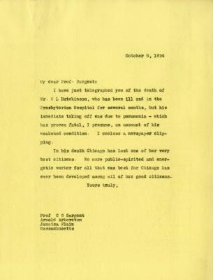 1924/10/08: Joy Morton to C. S. Sargent