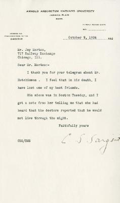 1924/10/09: C. S. Sargent to Joy Morton