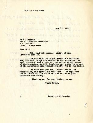 1930/06/17:Secretary to Founder [of The Morton Arboretum]  to A.F. Sandford