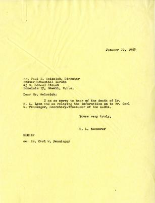 1958/01/20: E. Lowell Kammerer to Paul R. Weissich