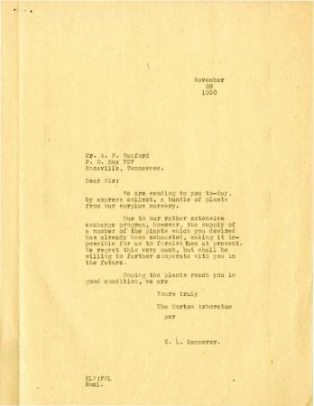 1930/11/28: E. L. Kammerer to Sir [A.F. Sanford]