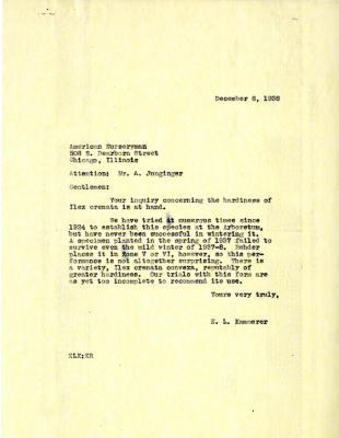 1938/12/06: E.L. Kammerer to American Nurseryman