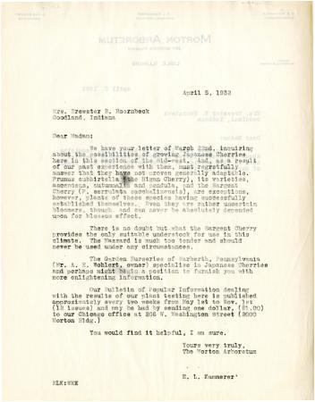 1932/04/05: E. Lowell Kammerer to Mrs. Brewster B. Hoornbeek