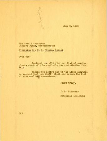 1930/07/09: E. L. Kammerer to E. H. Wilson