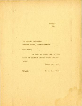 1930/10/13: E.L. Kammerer to Arnold Arboretum
