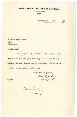 1930/11/26: Wm. H. Judd to Morton Arboretum
