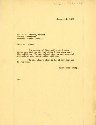 1930/01/07: To Mr. E. H. Wilson