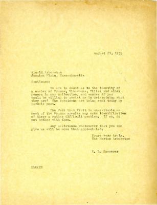 1935/08/29: E. L. Kammerer to Gentlemen [of the Arnold Arboretum]