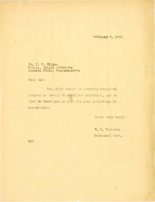 1930/02/03: E.L. Kammerer to E.H. Wilson