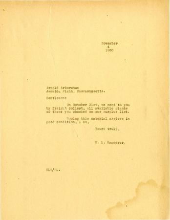 1930/11/04: E.L. Kammerer to Arnold Arboretum