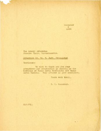 1930/12/04: E. L. Kammerer to Arnold Arboretum [Wm. H. Judd]