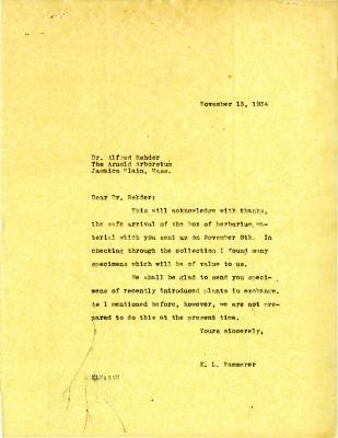 1934/11/13: E.L. Kammerer to Alfred Rehder