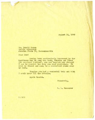 1949/08/16: E. L. Kammerer to Donald Wyman