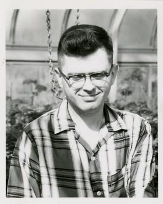Jim Hayward in greenhouse