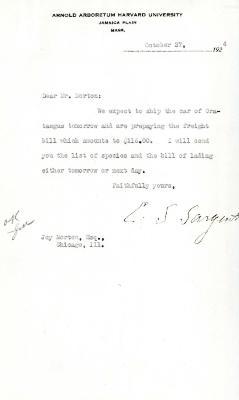 1924/10/27: C. S. Sargent to Joy Morton