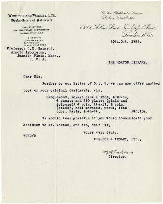 1924/10/10: W. J. H. Craddock to C. S. Sargent