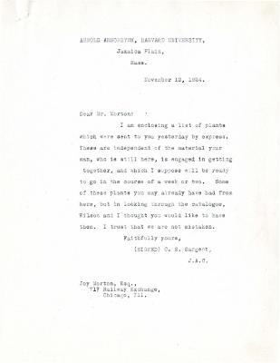 1924/11/12: C. S. Sargent to Joy Morton