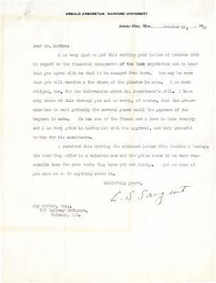 1924/10/18: C. S. Sargent to Joy Morton