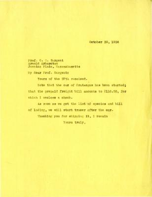 1924/10/29: Joy Morton to C. S. Sargent