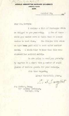 1924/10/30: C. S. Sargent to Joy Morton
