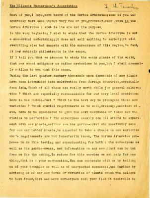 Transcript of presentation written for the Illinois Nurserymen's Association