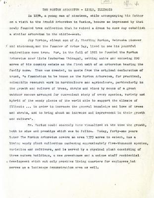 The Morton Arboretum Lisle, Illinois [report, 1963]
