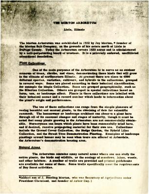 The Morton Arboretum [photocopy of article outlining the Morton Arboretum]
