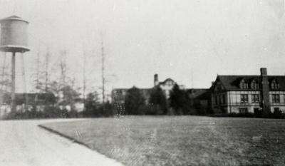 Road leading up to Morton residence with water tower to the left