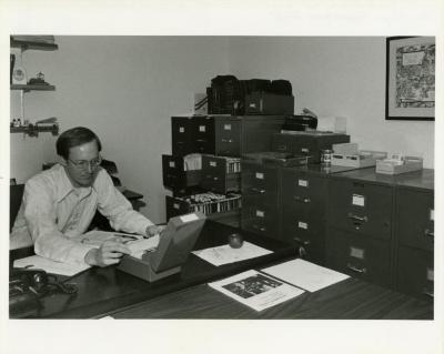 Ed Hedborn working at desk