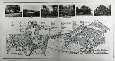 Plan of Development for Morton Arboretum, Joy Morton, Founder, Lisle, Illinois. [with 6 photographs printed above map]