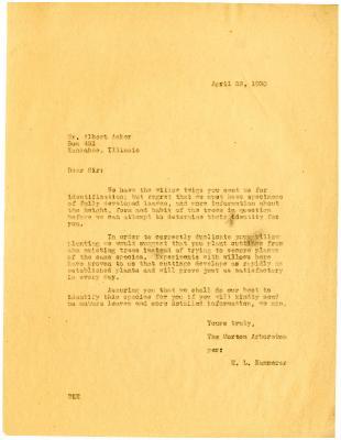 1930/04/22: E.L. Kammerer to Albert Aaker