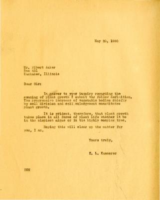 1930/05/20: E.L. Kammerer to Albert Aaker