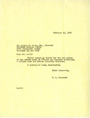 1949/02/18: E.L. Kammerer to George Avery