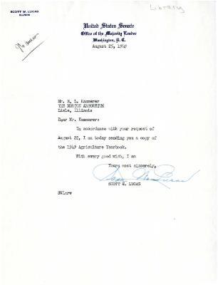 1949/08/25: Scott W. Lucas to E.L. Kammerer