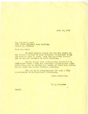 1949/07/13: E.L. Kammerer to Robert More