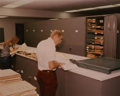 Dr. William Hess working in Herbarium with assistant, Patti Levenz