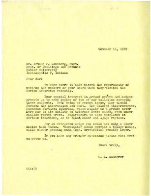1949/10/11: E.L. Kammerer to Sir [Arthur Lindberg]