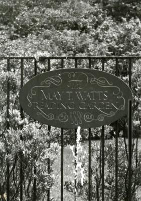 May T. Watts Reading Garden slate, engraved by Fr. Catich