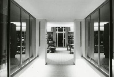 Sterling Morton Library, view toward May T. Watts Reading Garden doors from inside glass walled corridor on west side
