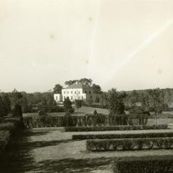 Administration Building, distant view from Hedge Garden