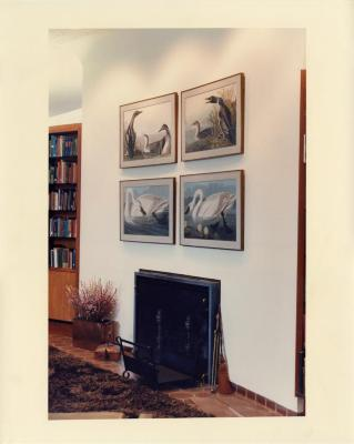 Sterling Morton Library, reading room fireplace with Audubon prints above