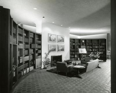Sterling Morton Library, reading room, fireplace reading area and curved bookshelves