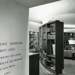 Sterling Morton Library, reading room with name plate