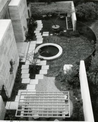 May T. Watts Reading Garden, aerial view looking north