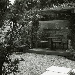 May T. Watts Reading Garden, southwest corner showing pergola