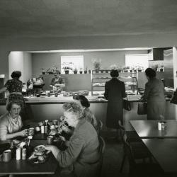 Ginkgo Tea Room, serving station and women seated at table